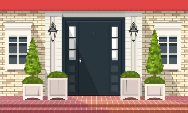 Front Entrance Doors Facade of building, front door with outdoor plants in pots, vector building element porch stock illustrations