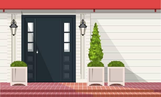 Front Entrance Doors Facade of building, front door with outdoor plants in pots, vector building element front stoop stock illustrations