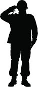 Front full body silhouette of a military man saluting