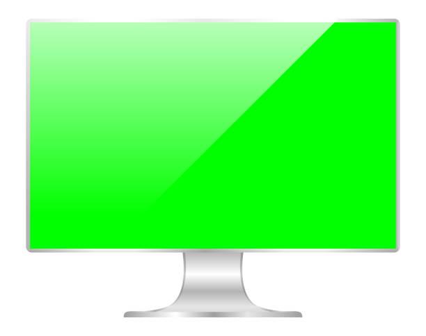 stockillustraties, clipart, cartoons en iconen met voorzijde van platte monitor groen scherm computer, pc display digitale breedbeeld en slank, pictogram van de monitor moderne lcd, symbool 3d modern scherm, mock-up volledig scherm desktop leeg geïsoleerde witte achtergrond - green screen