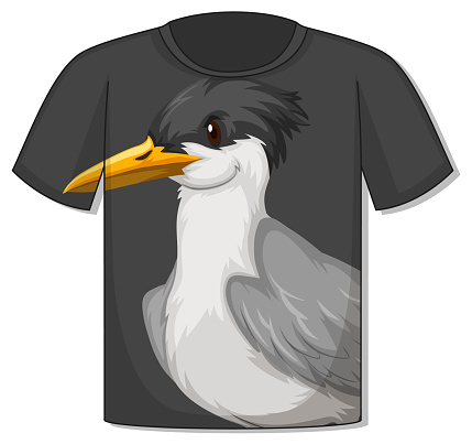 Front of t-shirt with bird template