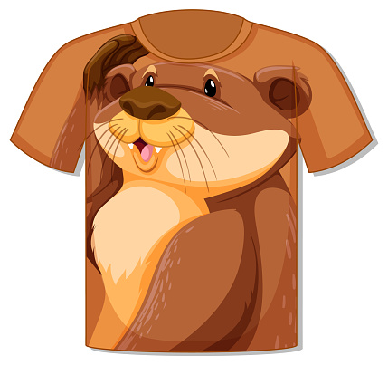 Front of t-shirt with cute otter template