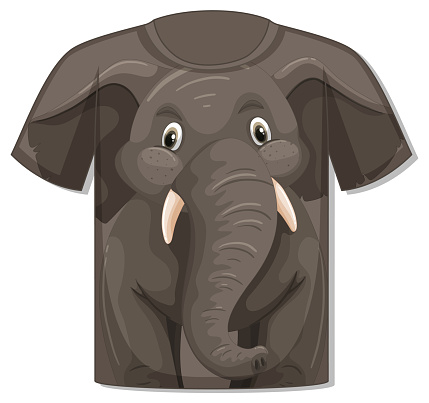 Front of t-shirt with elephant template