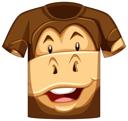 Front of t-shirt with face odf monkey pattern
