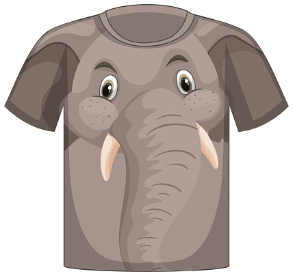 Front of t-shirt with face of elephant pattern