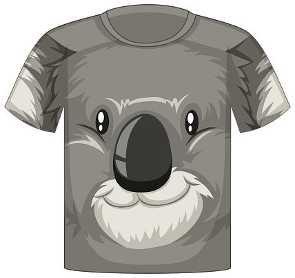 Front of t-shirt with face of koala pattern