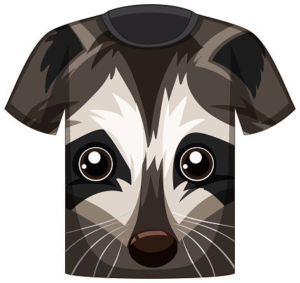 Front of t-shirt with face of raccoon pattern