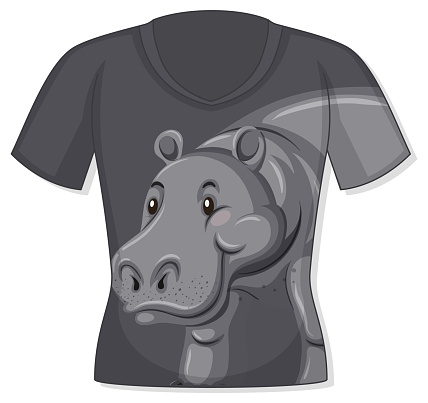 Front of t-shirt with hippopotamus pattern