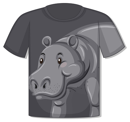 Front of t-shirt with hippopotamus template