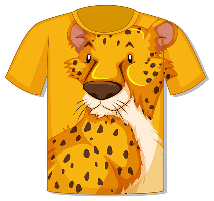 Front of t-shirt with leopard template