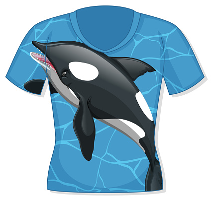 Front of t-shirt with orca pattern