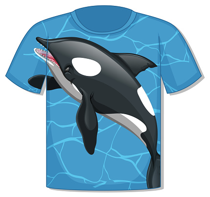 Front of t-shirt with orca whale template