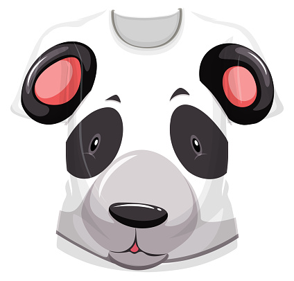 Front of t-shirt with panda face pattern
