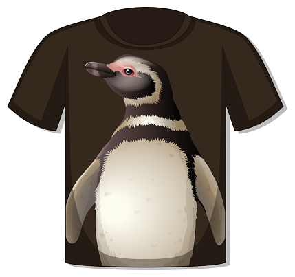Front of t-shirt with penguin template