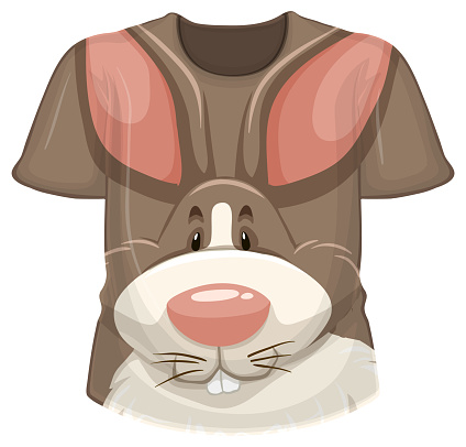 Front of t-shirt with rabbit pattern