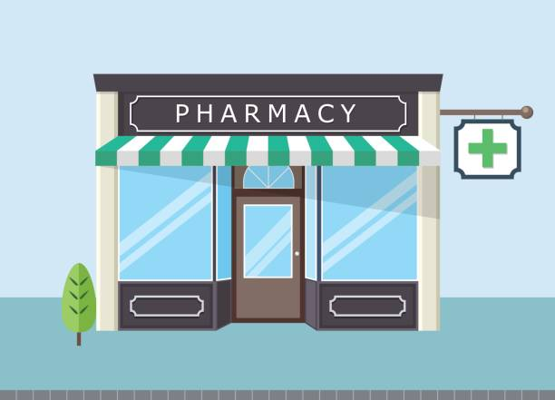 Front pharmacy store Facade of pharmacy store in  urban space pharmaceutical industry stock illustrations