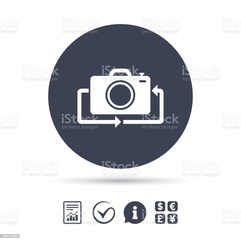 Front photo camera sign icon. Change symbol. royalty-free front photo camera sign icon change symbol stock vector art & more images of animal back