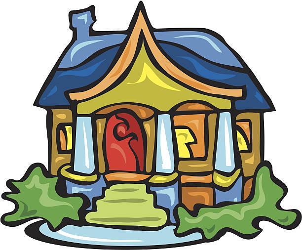 Front porch of cottage vector art illustration