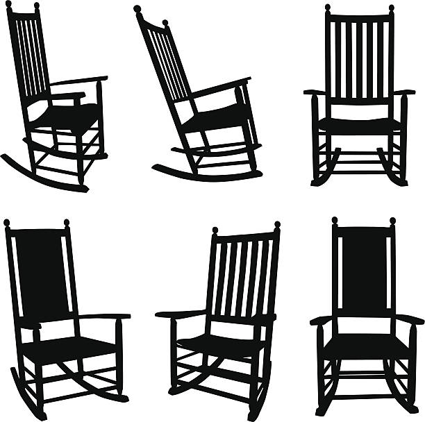Front Porch Rocking Chairs Black detailed silhouettes of front porch rocking chairs. Six rocking chairs, two different styles. A front view, two side views and 3/4 view, including eye level and looking down views of the five slat rocking chair. The solid weave rocking chair has a front view and 3/4 view. Easily edited vector design elements. porch stock illustrations