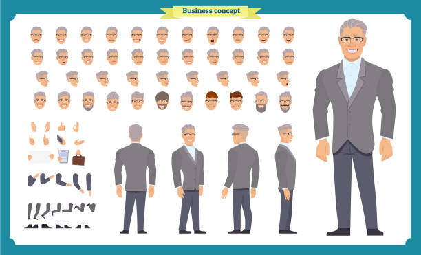 front, side, back view animated character. manager character creation set with various views, hairstyles, face emotions, poses and gestures. cartoon style, flat vector illustration.people - old man faces stock illustrations, clip art, cartoons, & icons