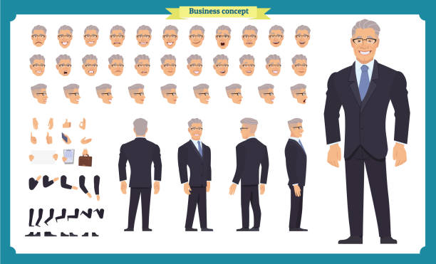 전면, 측면, 후면 애니메이션 캐릭터입니다. 관리자 문자 창조와 다양 한 플레이, 헤어스타일, 얼굴 감정, 포즈 제스처 설정. 만화 스타일, 평면 벡터 일러스트 레이 션입니다. 사람들 - 수트 stock illustrations