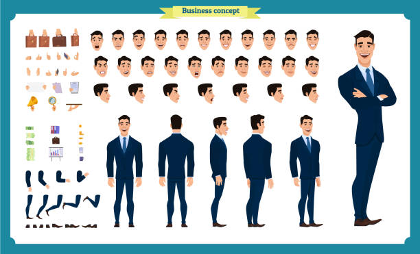 front, side, back view animated character. manager character creation set with various views, hairstyles, face emotions, poses and gestures. cartoon style, flat vector illustration.people - old man face cartoon stock illustrations, clip art, cartoons, & icons