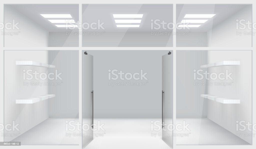 Front Store Shop 3d Realistic Space Open Doors Shelves Template Mockup Background Vector Illustration vector art illustration