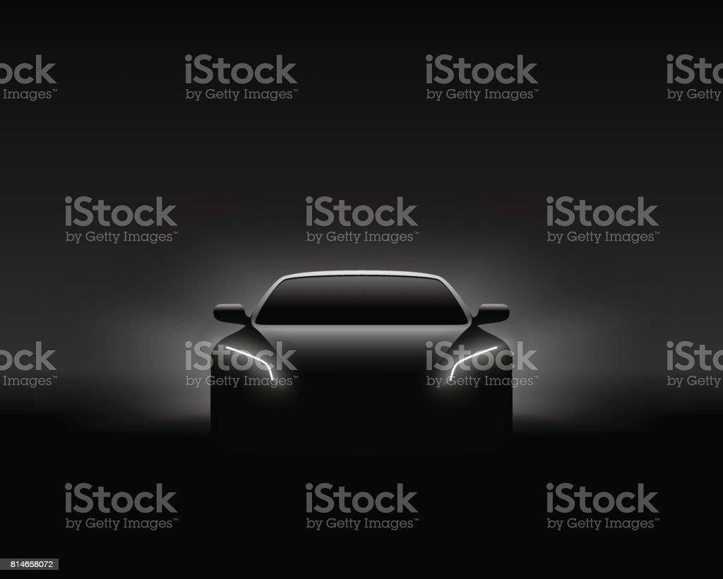Front View Dark Concept Car Silhouette. Realistic Vector Illustration. vector art illustration