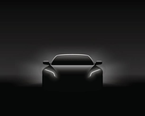 Front View Dark Concept Car Silhouette. Realistic Vector Illustration. vector art illustration