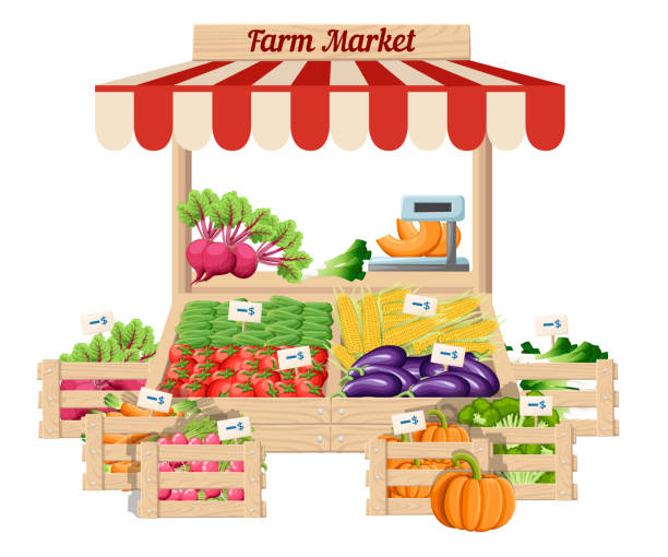 Front view market wood stand with farm food and vegetables in open box vector with weights and price tags illustration isolated on white background Front view market wood stand with farm food and vegetables in box with weights and price tags vector illustration isolated on white background website page and mobile app design. farmer's market stock illustrations