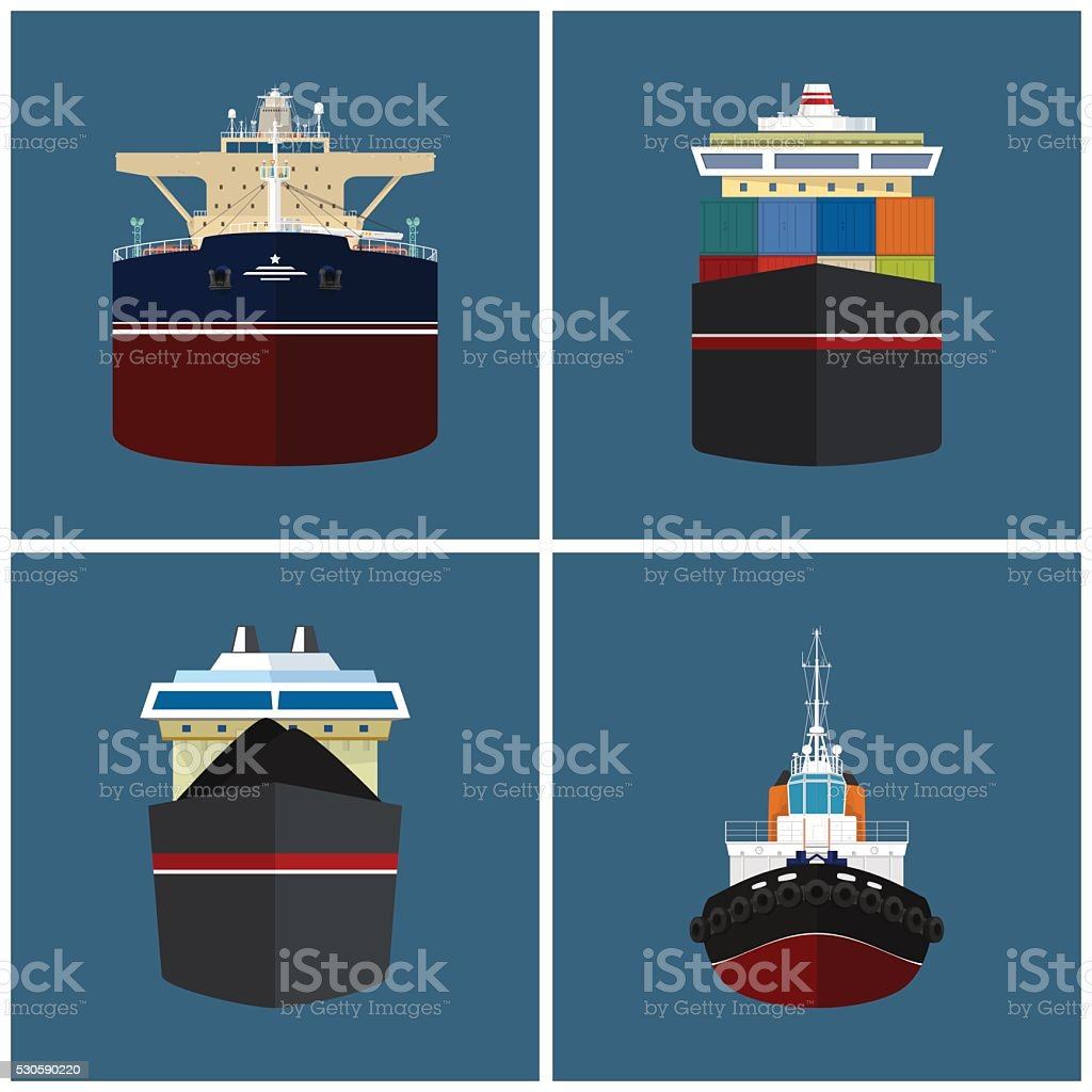 Front View of a Cargo Ship vector art illustration
