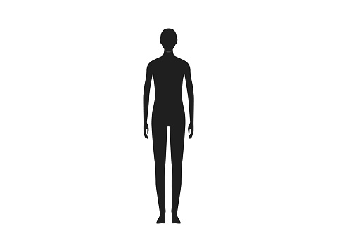 Front view of a neutral gender human body silhouette.