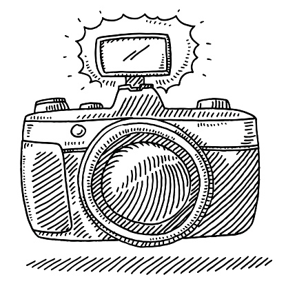 Front View Of A Photo Camera And Flashlight Drawing