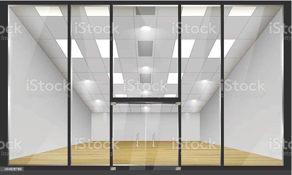 Front view of an empty glass-fronted shop vector art illustration