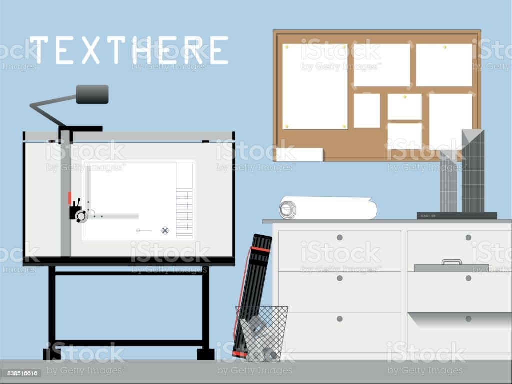 Front view of architect and engineer workplace drafting table, cabinet, cork board and model. Background design with space for text. vector art illustration