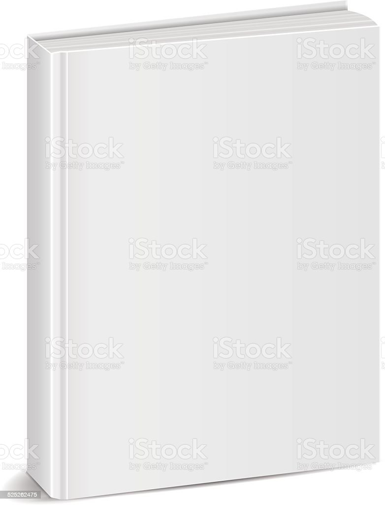 front view of Blank book cover white vector art illustration