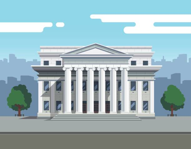 Front view of court house, bank or university Front view of court house, bank, university or governmental institution. White brick public building with white columns. Flat style modern vector illustration. supreme court stock illustrations