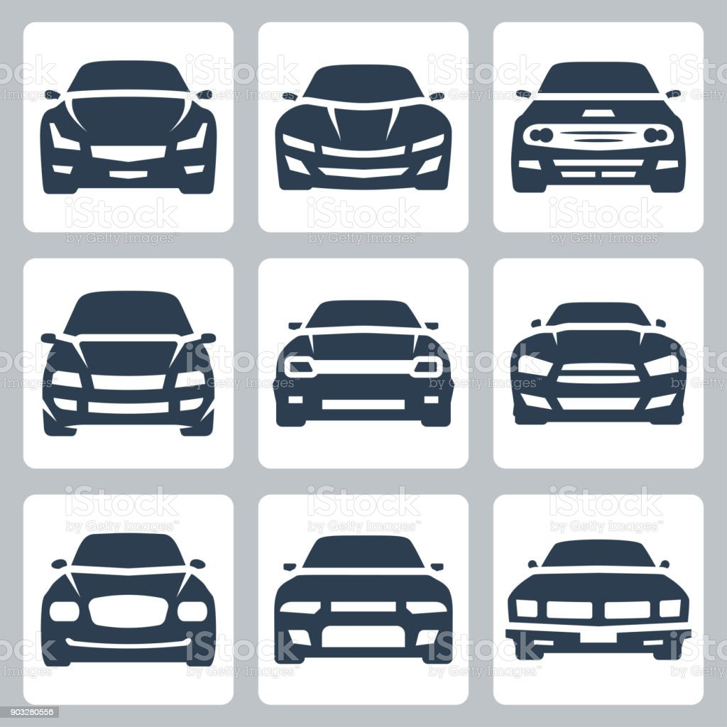 Front view of different cars, vector icon set vector art illustration