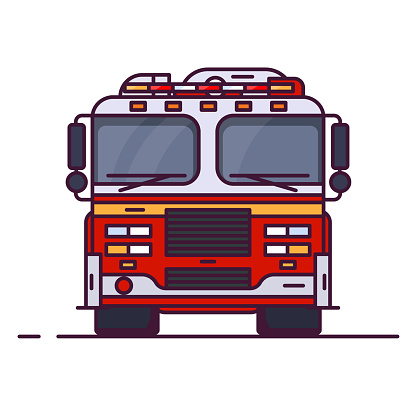 Front view of fire engine