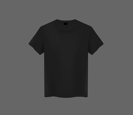 Front view of men's black t-shirt Mock-up on dark background. Short sleeve T-shirt template on background.