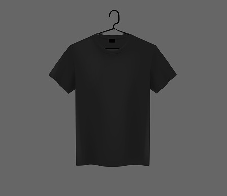 Front view of men's black t-shirt Mock-up on metal hanger and dark background. Short sleeve T-shirt template on background.