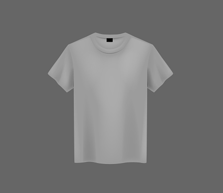 Front view of men's gray t-shirt Mock-up on dark background. Short sleeve T-shirt template on background.