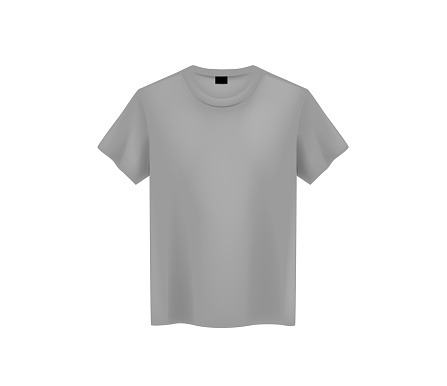Front view of men's gray t-shirt Mock-up on light background. Short sleeve T-shirt template on background.