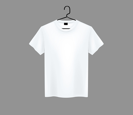 Front view of men's white t-shirt Mock-up on metal hanger and dark background. Short sleeve T-shirt template on background.