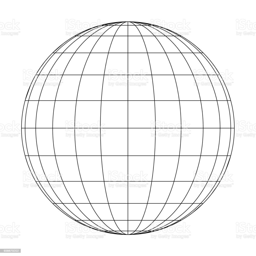 Front view of planet Earth globe grid of meridians and parallels, or latitude and longitude. 3D vector illustration vector art illustration