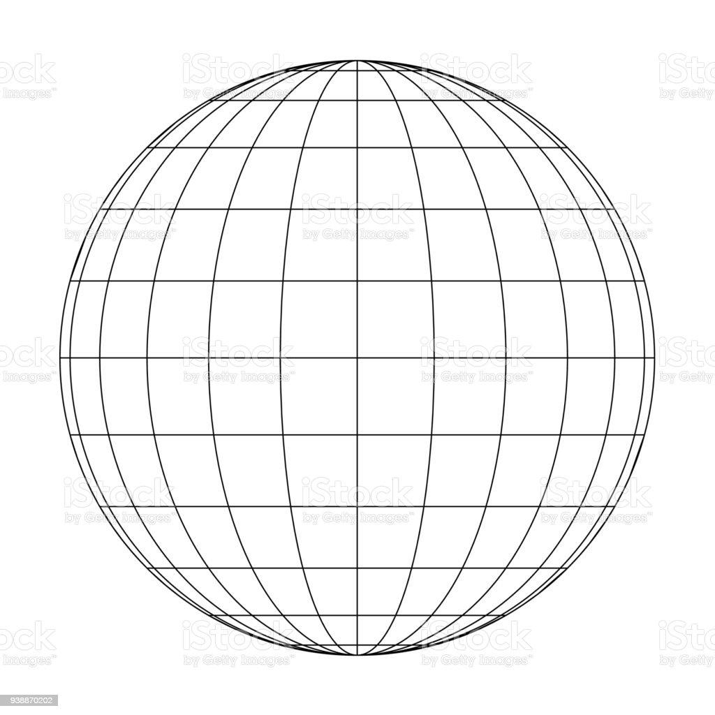 Vorderansicht des Planeten Erde Globus Raster von Meridianen und parallelen, oder Längen- und Breitengrad. 3D Vektor-illustration – Vektorgrafik