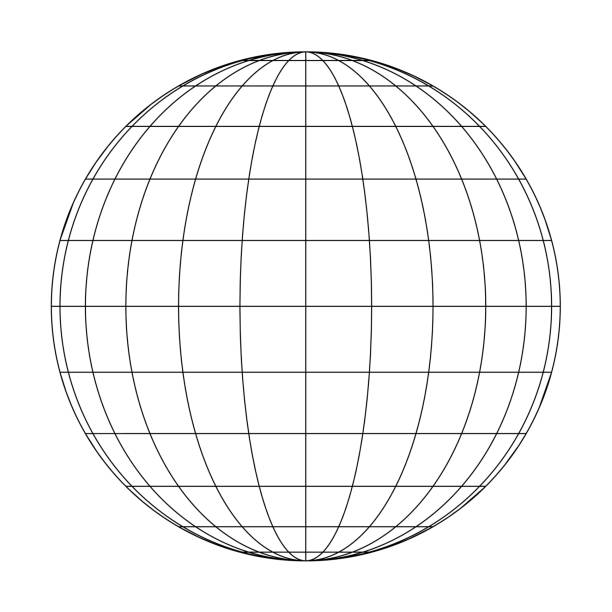 ilustrações de stock, clip art, desenhos animados e ícones de front view of planet earth globe grid of meridians and parallels, or latitude and longitude. 3d vector illustration - latitude