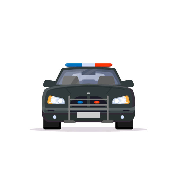 Front view of police car Front view of black police car with lights. Flat style vector illustration. Vehicle and transport banner. Modern patrol american car. police car stock illustrations