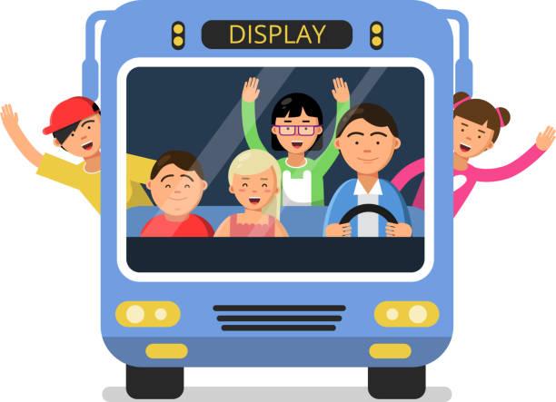 ilustraciones, imágenes clip art, dibujos animados e iconos de stock de vista frontal del autobús escolar con niños felices y controlador - autobuses escolares
