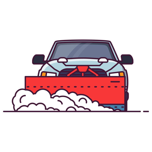 Front view of snowplowing car Front view of SUV car with attached snowplower. Line style vector illustration. Off road vehicle in winter clearing road from snow. Cleaning winter road Big truck pixel perfect banner. snowdrift stock illustrations